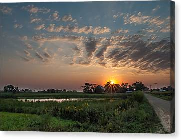 Farmstead Sunrise Canvas Print by Dan Traun
