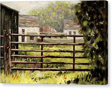 Farmyard Gate Canvas Print by John  Nolan