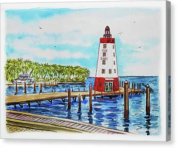 Canvas Print featuring the painting Faro Blanco Lighthouse Florida Keys by Irina Sztukowski