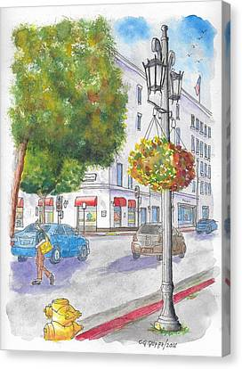Farola With Flowers In Wilshire Blvd., Beverly Hills, California Canvas Print by Carlos G Groppa