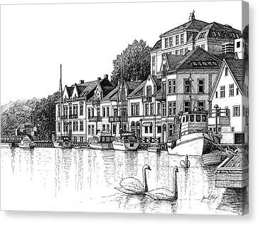 Farsund Harbor Canvas Print - Farsund Harbor In Ink by Janet King