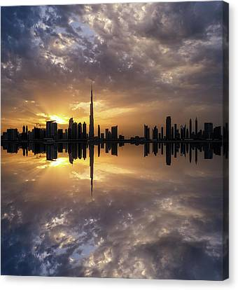 Fascinating Reflection In Business Bay District During Dramatic Sunset. Dubai, United Arab Emirates. Canvas Print