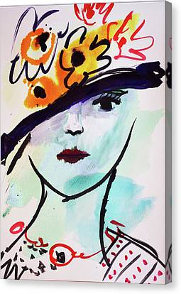 Fashion, Vintage Hat With Flowers Canvas Print