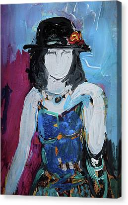 Fashion Woman With Vintage Hat And Blue Dress Canvas Print