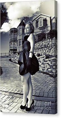 Fashionable Woman And Mansion Canvas Print