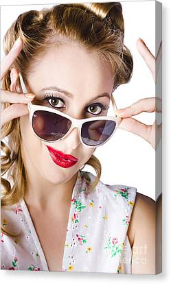 Fashionable Woman In Sun Shades Canvas Print