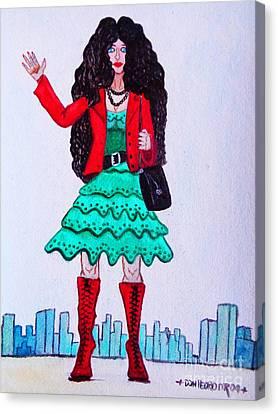 Fashionist Hailing A Taxi Canvas Print by Don Pedro De Gracia