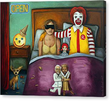 Burger Canvas Print - Fast Food Nightmare 2 Different Tones by Leah Saulnier The Painting Maniac