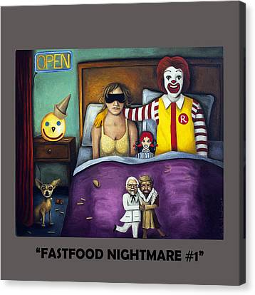 Fast Food Nightmare With Lettering Canvas Print by Leah Saulnier The Painting Maniac