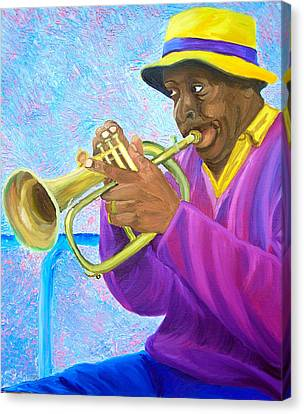 Fat Albert Plays The Trumpet Canvas Print by Michael Lee