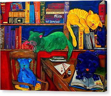Fat Cats In The Library Canvas Print by Patti Schermerhorn