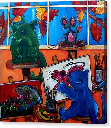 Fat Cats Take Over My Art Studio Canvas Print by Patti Schermerhorn
