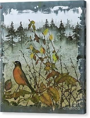 Fat Robins Outside My Windows Canvas Print by Carolyn Doe