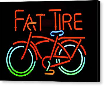Fat Tire Neon Beer Sign Canvas Print by David Lee Thompson