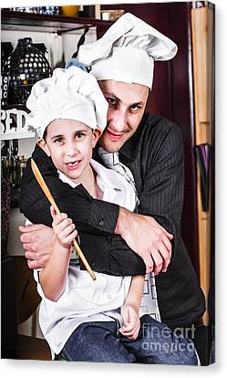 Father And Child Spending Quality Time Cooking Canvas Print