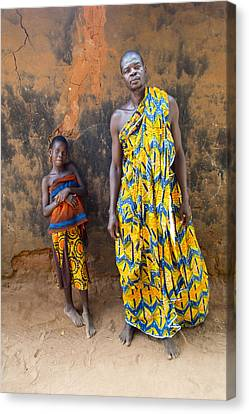 Father And Daughter In Akato Viepe Village Togo Canvas Print