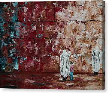 Father And Son At The Kotel Canvas Print by Devora Davidowitz