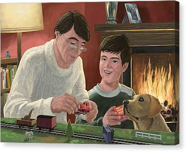 Father And Son Building Model Railway Canvas Print by Martin Davey
