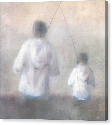 Oil Sketch Canvas Print - Father And Son Fishing by Alan Daysh