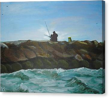 Father And Son Fishing Canvas Print by Rita Tortorelli
