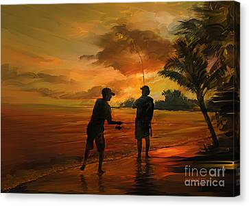 Father And Son Fishing Canvas Print
