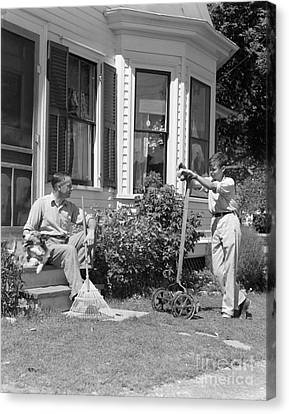 Father And Son Outside Talking, C.1940s Canvas Print