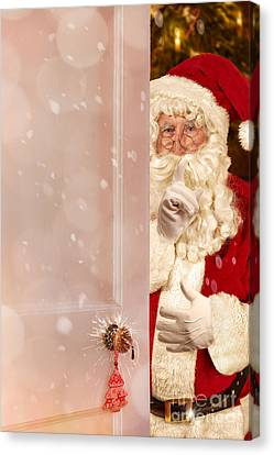 Father Christmas Canvas Print - Father Christmas At The Door by Amanda Elwell