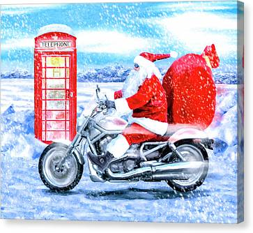 Father Christmas Has A New Bike Canvas Print by Mark Tisdale