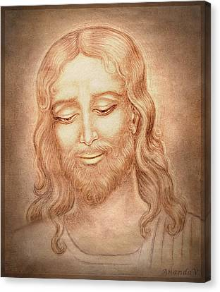 Jesus Christ Icon Canvas Print - Father Forgive Them  by Ananda Vdovic