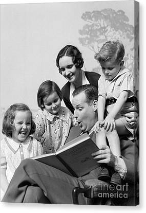 Father Reading To Family, C.1930s Canvas Print