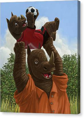 father Rhino with son Canvas Print by Martin Davey