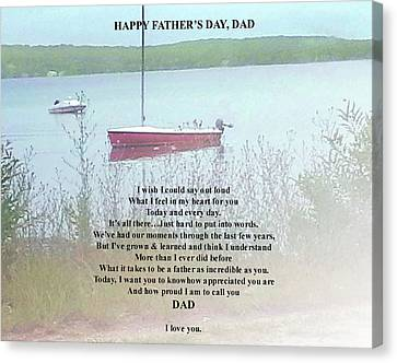 Canvas Print featuring the digital art Father's Day Verse 1 by Ellen Barron O'Reilly
