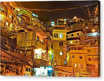 Canvas Print featuring the photograph Favela Night by Kim Wilson