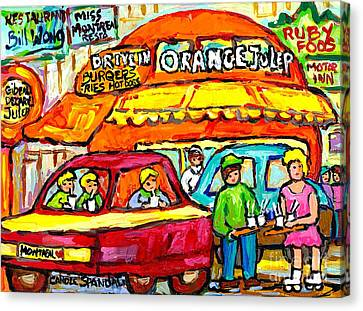 Favorite Dive-in Orange Julep Vintage Montreal Scene Roadside Attraction Art For Sale Carole Spandau Canvas Print