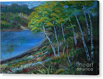 Canvas Print featuring the painting Favorite Fishin' Hole by Leslie Allen