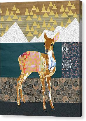 Christmas Flower Canvas Print - Fawn Collage by Claudia Schoen