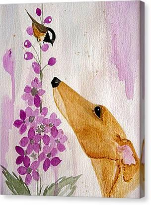 Greyhound Canvas Print - Fawn With Chickadee by Jennifer Howard