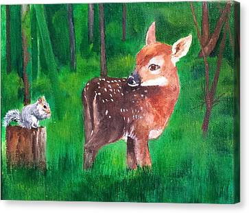 Fawn With Squirrel Canvas Print
