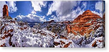 Painterly Canvas Print - Fay Canyon Snowfall 1 by ABeautifulSky Photography by Bill Caldwell