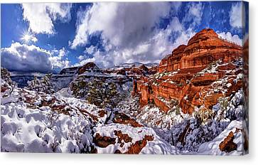 Fay Canyon Snowfall 2 Canvas Print by ABeautifulSky Photography