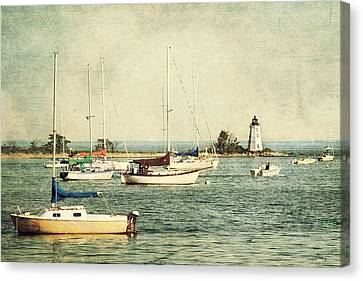 Fayerweather Island Lighthouse - Bridgeport Lighthouse - Black Rock Harbor Canvas Print by Joann Vitali