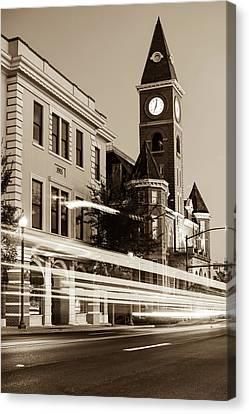 University Of Arkansas Canvas Print - Fayetteville Arkansas Skyline At Night In Sepia by Gregory Ballos