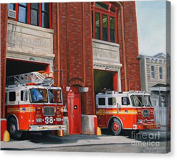 Fdny Engine 88 And Ladder 38 Canvas Print by Paul Walsh