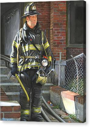 Fdny Squad 41 Firefighter Canvas Print by Paul Walsh