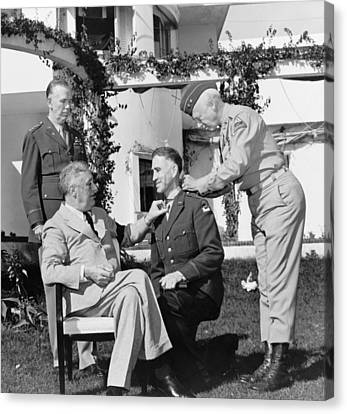 Canvas Print featuring the photograph Fdr Presenting Medal Of Honor To William Wilbur by War Is Hell Store