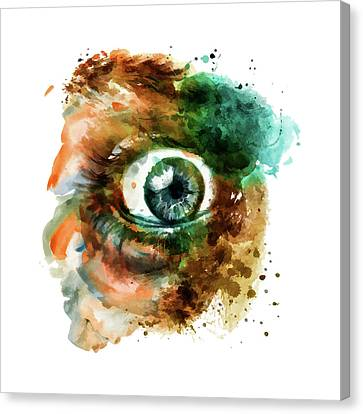 Fear Eye Watercolor Canvas Print by Marian Voicu