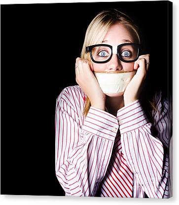 Fearful Business Nerd Silenced With Mouth Tape Canvas Print by Jorgo Photography - Wall Art Gallery