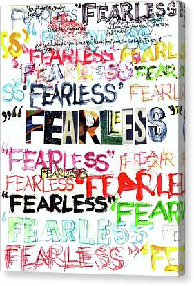 Canvas Print featuring the mixed media Fearless by Carolyn Weltman