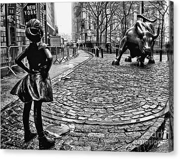 Empower Canvas Print - Fearless Girl And Wall Street Bull Statues 3 Bw by Nishanth Gopinathan