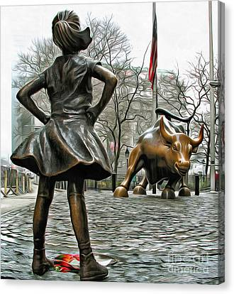 Bronze Canvas Print - Fearless Girl And Wall Street Bull Statues 5 by Nishanth Gopinathan